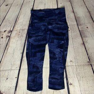 Lululemon Blue and Black Brushed Print Crops
